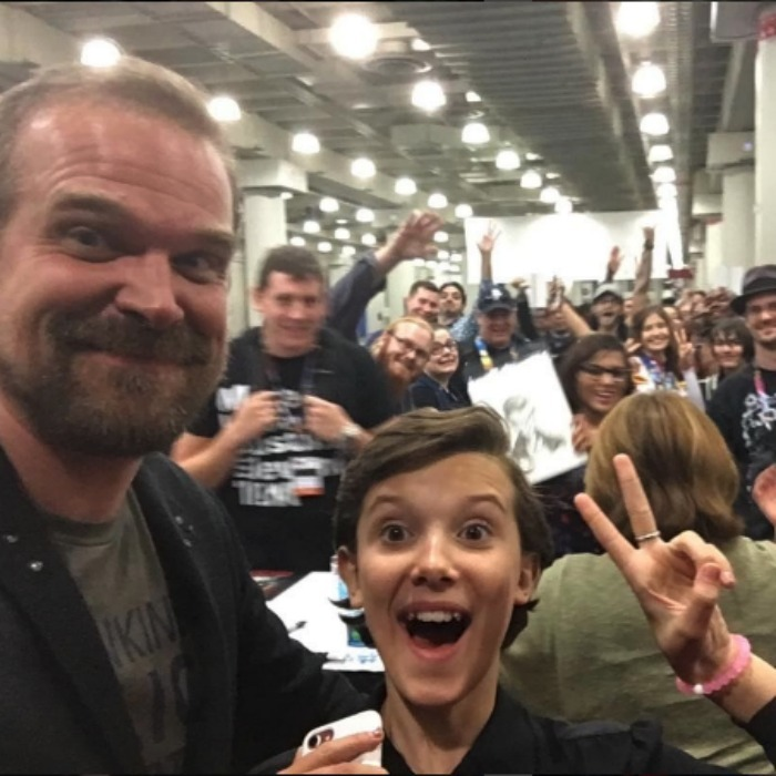 Celebrity week in photos sharon stone and melanie griffith have a october 8 millie bobby brown and david harbour snapped a massive selfie with fans during m4hsunfo