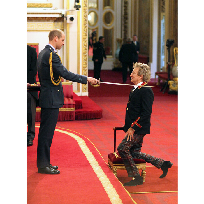 "<b>Rod Stewart</b> was bestowed with knighthood from <b>Prince William</b> on October 11. The veteran singer, who paid tribute to his Scottish heritage wearing a pair of colorful tartan trousers, received his knighthood at Buckingham Palace in recognition of his services to music and charity. The ceremony was conducted by the Duke of Cambridge after Sir Rod was honored in the Queen's birthday honors list.  The <i>Forever Young</i> artist previously described the award as ""a monumental honor."" ""I've led a wonderful life and have had a tremendous career thanks to the generous support of the great British public,"" he said. ""This monumental honor has topped it off and I couldn't ask for anything more. I thank Her Majesty and promise to wear it well.""