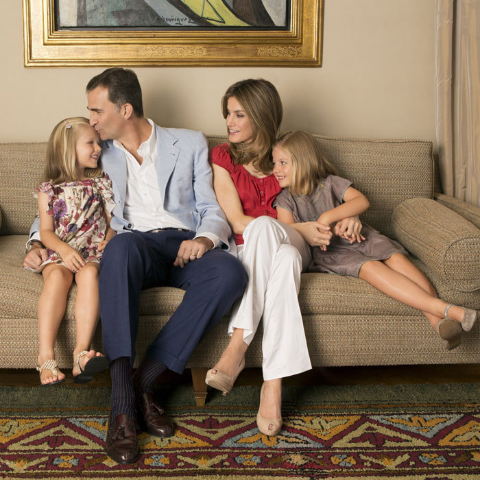 The Spanish royals looked picture perfect posing for a family portrait in 2012.