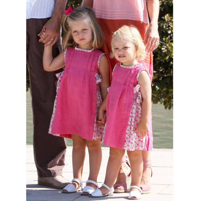 Leonor and Sofia were pretty in pink during a 2009 summer family vacation in Mallorca.