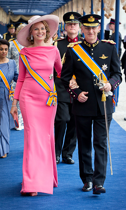 Queen Mathilde of Belgium opted for multiple hues of blush after the investiture ceremony of King Willem-Alexander in Amsterdam.