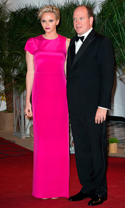 The very statuesque Princess Charlene of Monaco wore a floor length pink column gown for the Gala Grand Prix in Monte Carlo.