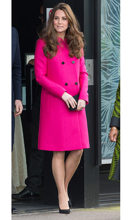 Then pregnant with Princess Charlotte, the Duchess of Cambridge gave a hint about the gender of her second baby in this bright pink Mulberry coat for her visit to the Stephen Lawrence Centre in Deptford, London. 