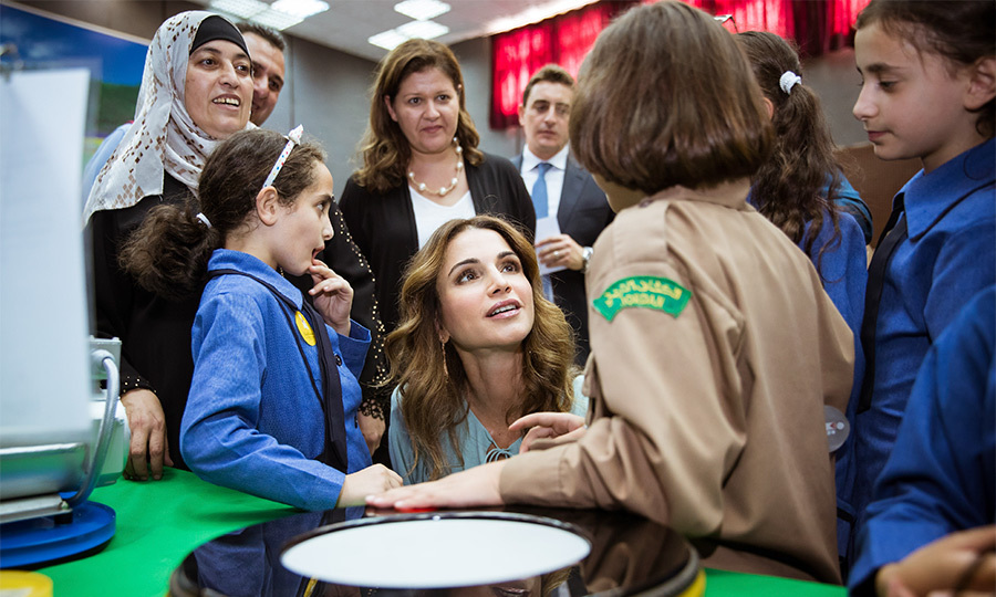 Queen Rania of Jordan was a hit with the kids during her visit to the Children's Mobile Museum at Al Khansaa Secondary School for Girls in Jerash, Jordan on October 10th. 