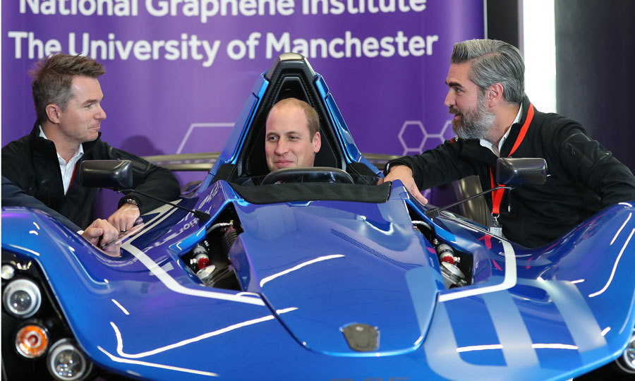 The dad-of-two hopped behind the wheel of a BAC (Briggs Automotive Company), made of grapheme, at the National Graphene Research Institute.