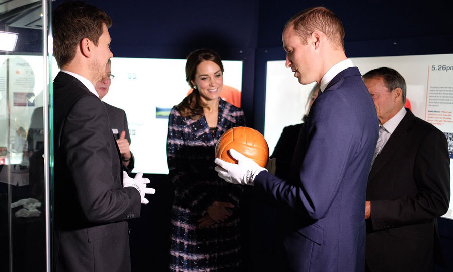 Once inside the museum, Prince William put on a pair of white gloves as he nervously got his hands on the match ball from the 1966 World Cup. While he held the ball from the game, the royal declined to raise the trophy for fear of dropping it.