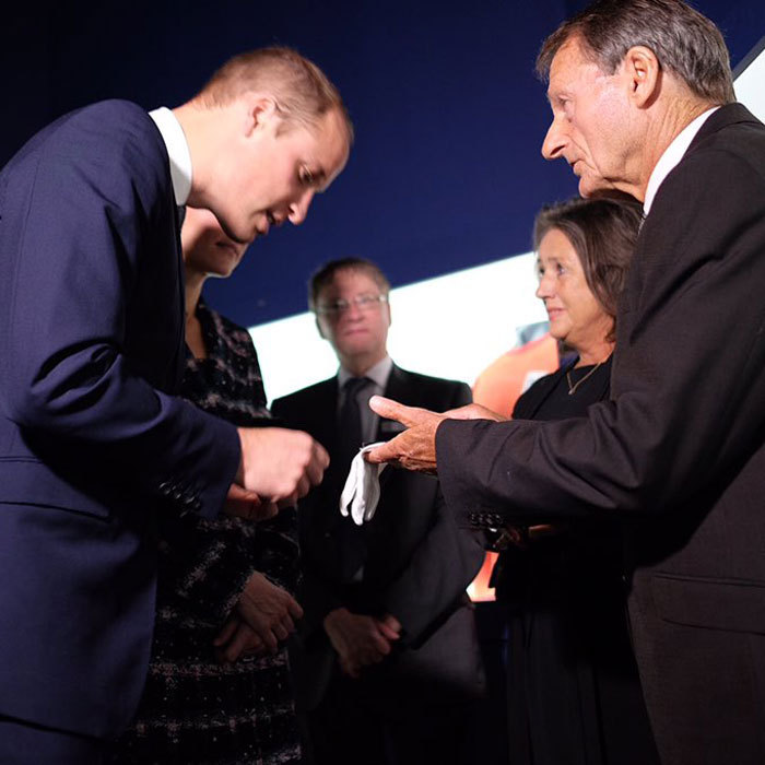 William and Kate met 1966 England World Cup winner, Roger Hunt, while touring the museum. The soccer player brought along his medal to show the Duke and Duchess.
