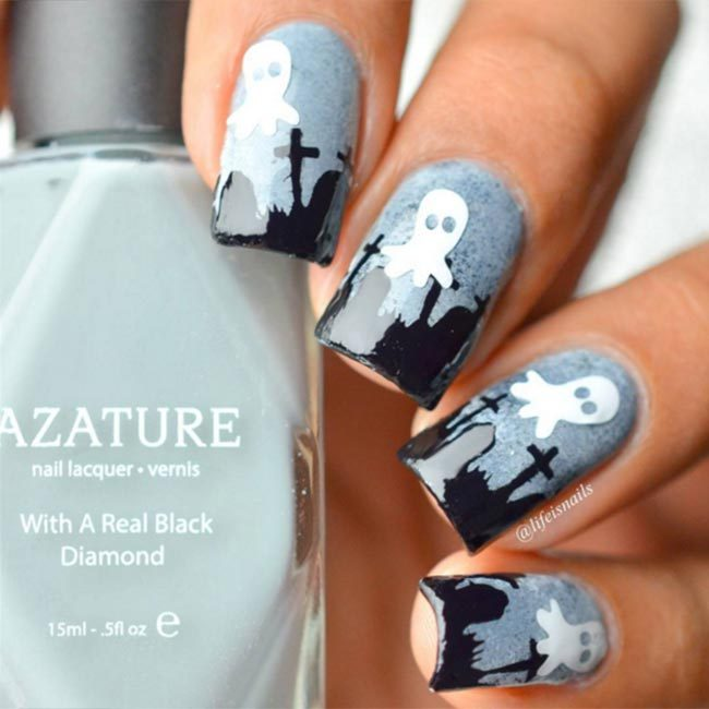 For a cool look, @lifeisnails used Azature polish in 'Faint White', 'Midnight' and 'Light Grey Diamond' to create her ghost and graveyard designs.