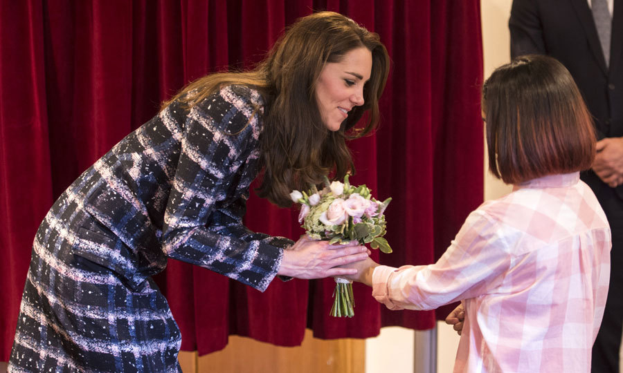 Pippa Middleton's sister was greeted with a bouquet of flowers upon her arrival to the hospice house.