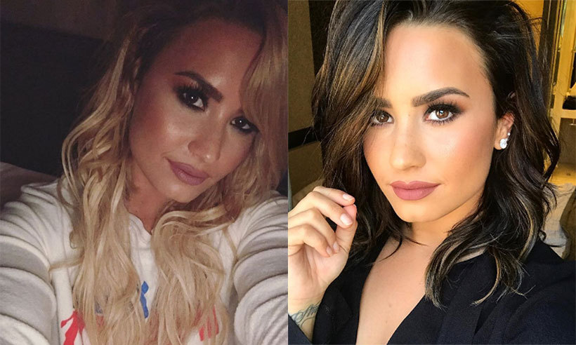 "Famous brunette <a href=""https://us.hellomagazine.com/tags/1/demi-lovato/""><strong>Demi Lovato</strong></a> briefly went blonde, left, in fall 2016.