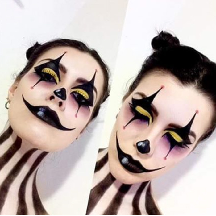 More freaky than funny, this creepy jester look is flawless.