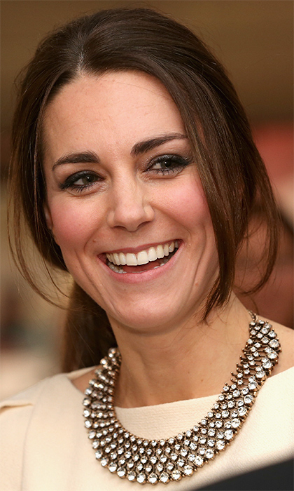The Duchess of Cambridge wore this sparkling $35 Zara piece with her Roland Mouret evening gown in 2013 to the <I>Mandela</I> premiere in London. And Kate wasn't the only one who loved the look – Prince William's cousin Princess Eugenie also was spotted wearing the affordable statement necklace.