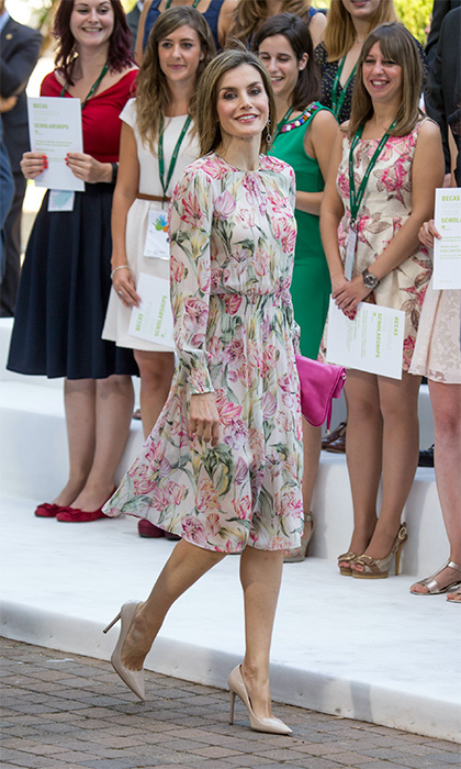 In July 2016, Queen Letizia stepped out in a $49.99 floral dress from the Spanish clothing store, pairing it with Prada heels.