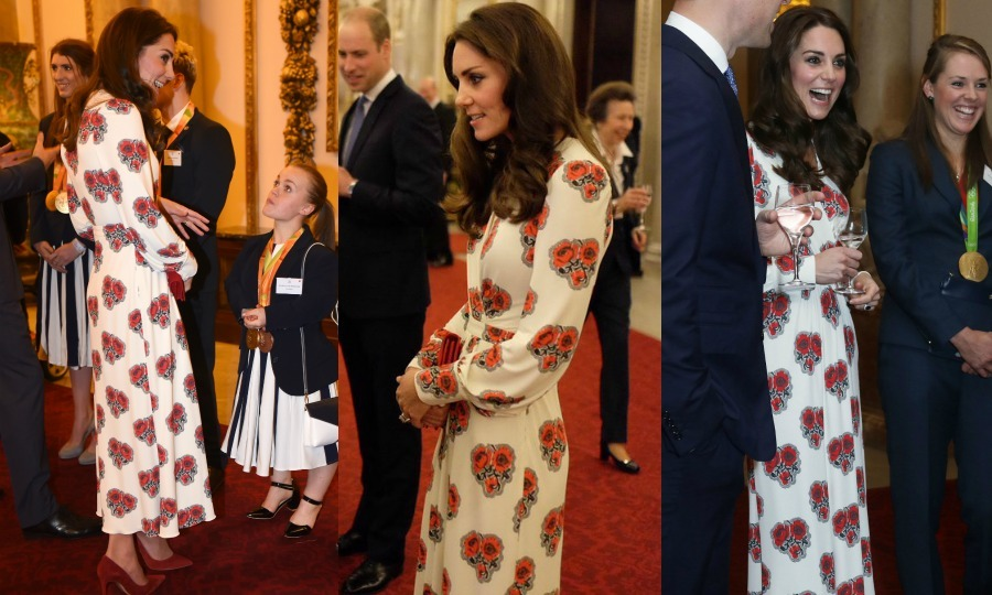 It was another gold-winning look for the Duchess of Cambridge at a reception held for Team GB Olympic and Paralympic medalists. The royal stepped out to the Buckingham Palace event sporting a poppy-printed silk gown by Alexander McQueen, which featured a nipped-waist and long, cuffed sleeves. Kate accessorized the stylish look with her bordeaux Gianvito Rossi suede pumps and a matching clutch bag.