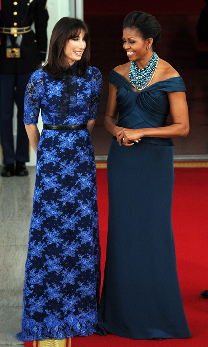 The first lady looked sophisticated in an off-shoulder number by Marchesa for the March 2012 State Dinner welcoming British Prime Minister David Cameron and his wife Samantha Cameron.