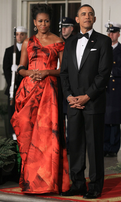 More like the lady in red! The First Lady Michelle Obama wowed in a printed red and black dress by Alexander McQueen at the January 2011 dinner for  Chinese President Hu Jintao.