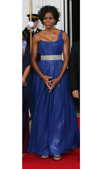 Barack Obama's wife shimmered in a sparkling cobalt blue gown by Peter Soronen that featured a rhinestone belt to the 2010 State Dinner for Mexican President Felipe Calderon.