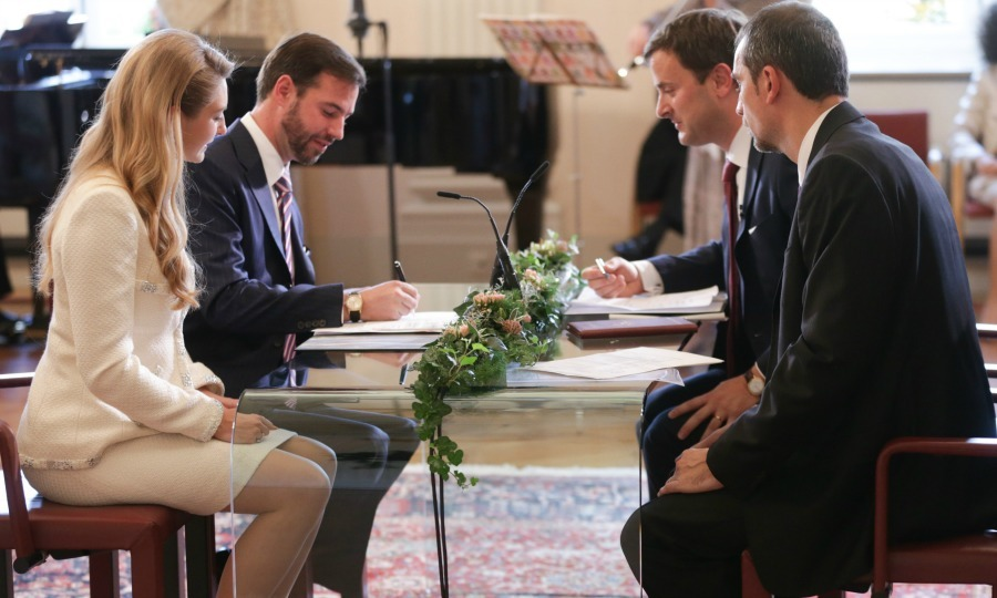 Sign on the dotted line! Prince Guillaume signed the paperwork on October 19, 2012, officially marking his marriage to Countess Stephanie de Lannoy during their civil wedding at the Luxembourg City Town Hall. 