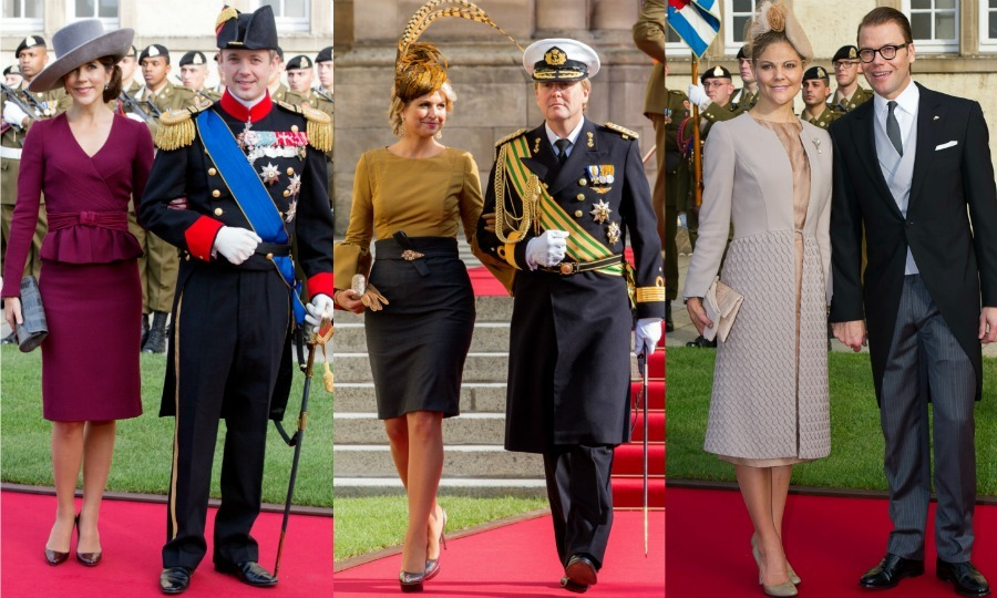 "Crown Prince Frederik and Crown Princess Mary of Denmark, Prince Willem-Alexander and Queen Maxima of the Netherlands and Crown Princess Victoria and Prince Daniel of Sweden all showed up to watch the fellow royal couple say ""I do."" 