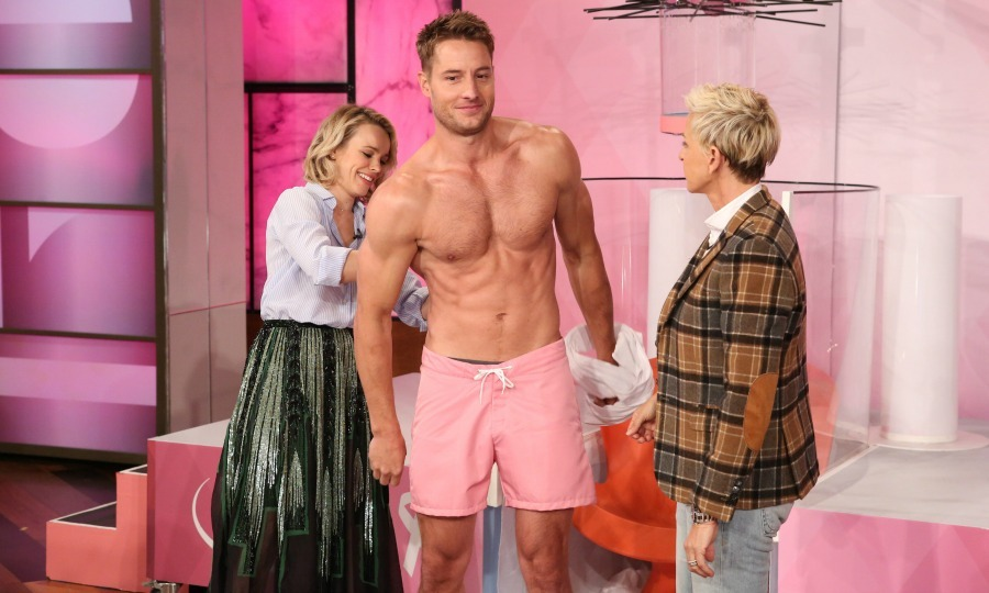 October 20: Do you need a hand! Rachel McAdams and Ellen DeGeneres helped <i>This is Us</i> star Justin Hartley with his mic before the actor got soaked during a game of Oops! My Water Broke. By hopping in the tank shirtless, they were able to raise $20,000 for Breast Cancer Awareness thanks to ULTA Beauty.