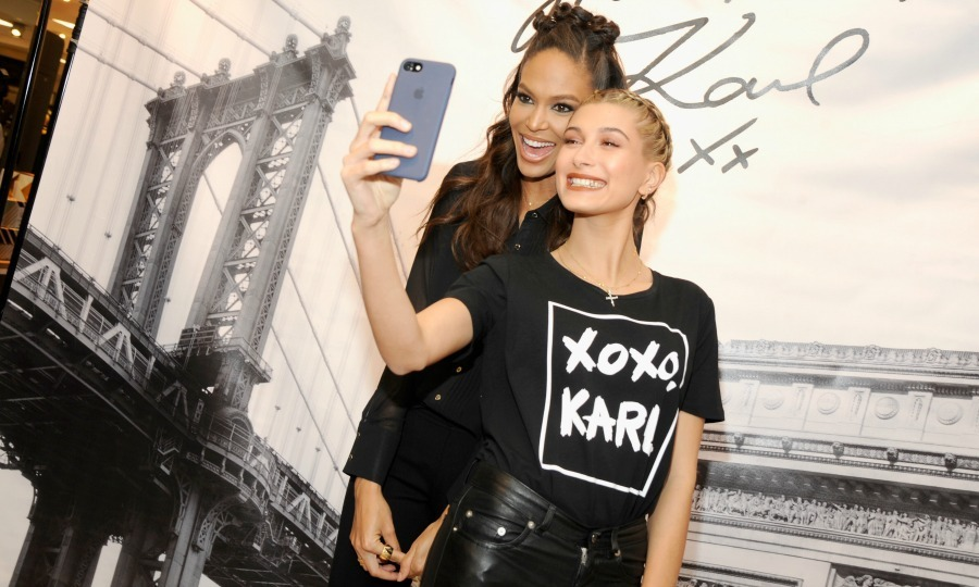 October 18: Hailey Baldwin and Joan Smalls wore Karl Lagerfeld Paris while they snapped selfies during the launch event at Lord & Taylor in NYC. 
