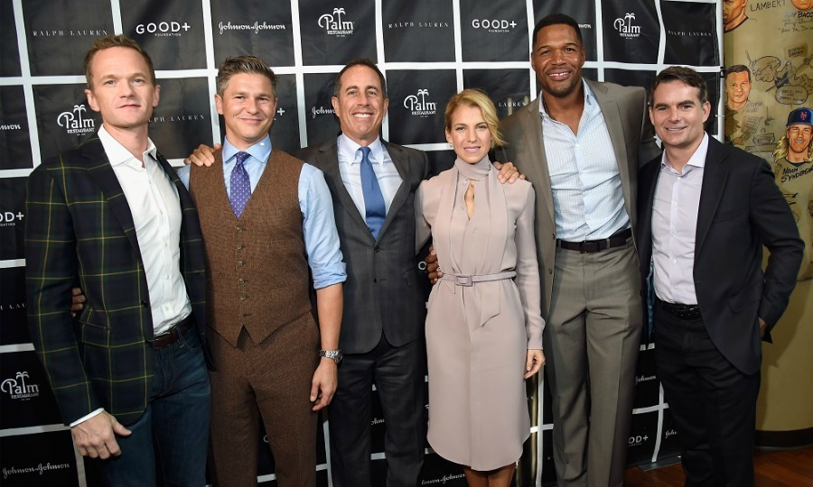 October 18: Neil Patrick Harris, David Burtka, Jerry Seinfeld, Jessica Seinfeld, Michael Strahan and Jeff Gordon posed for a group shot during the  New York Fatherhood Lunch to benefit GOOD+ Foundation in NYC. 