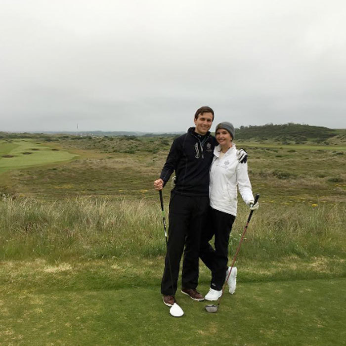 A couple that golfs together stays together! Jared and Ivanka hit up the 18th hole of Trump International, Scotland.