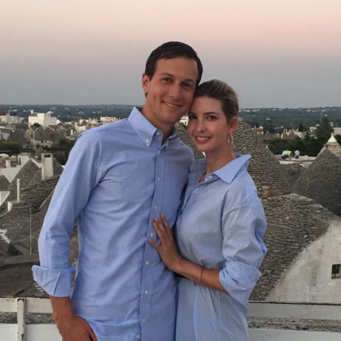 "Jared and Ivanka were twinning in blue button-down shirts during a ""date night"" in Italy back in 2015. 