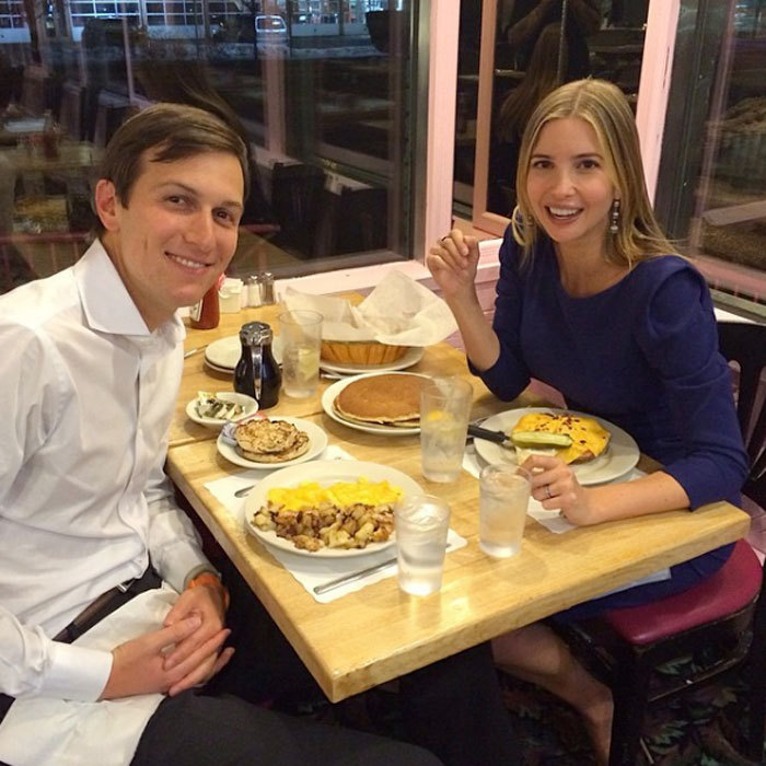 "Ivanka accepted her husband's challenge in 2014 dining on ""eggs, tuna melt, Mozz sticks and pancakes"" at a New Jersey diner. ""My husband always claims that the best diner's are in New Jersey,"" the businesswoman captioned the photo. ""Bravo!""