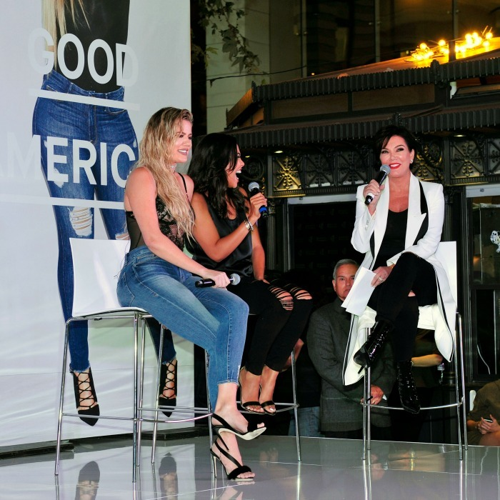 October 18: Good jeans! Khloe Kardashian celebrated the launch of her new Good American denim line with business partner Emma Grede and her mother Kris Jenner at The Park at the Grove in L.A. 