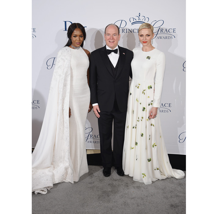 """It means the world to us, because [my mom] really wanted to do something for young emerging artists and theater dance and film and she was never able to do it,"" Prince Albert said of the Princess Grace Foundation at the awards gala, which was hosted by supermodel Naomi Campbell, left. ""The fact that her legacy goes on in that way and that these very talented young artists, most have them have moved on to great careers... is a great satisfaction for all of us at the Foundation.""
