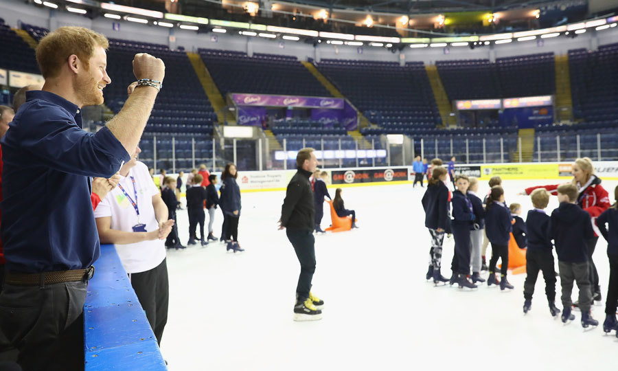 "Prince William's brother, who said, ""Don't expect me to get on the ice,"" cheered on skaters at the National Ice Centre. While watching some kids take a tumble, Harry admitted, ""That's exactly how I look on the ice as well.""