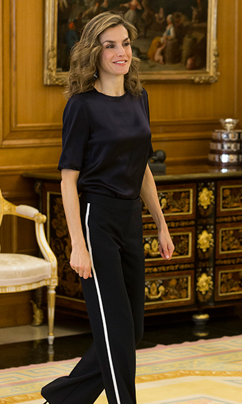 Queen Letizia of Spain looked chic in this all black number as she attended several audiences at Zarzuela Palace in Madrid. 
