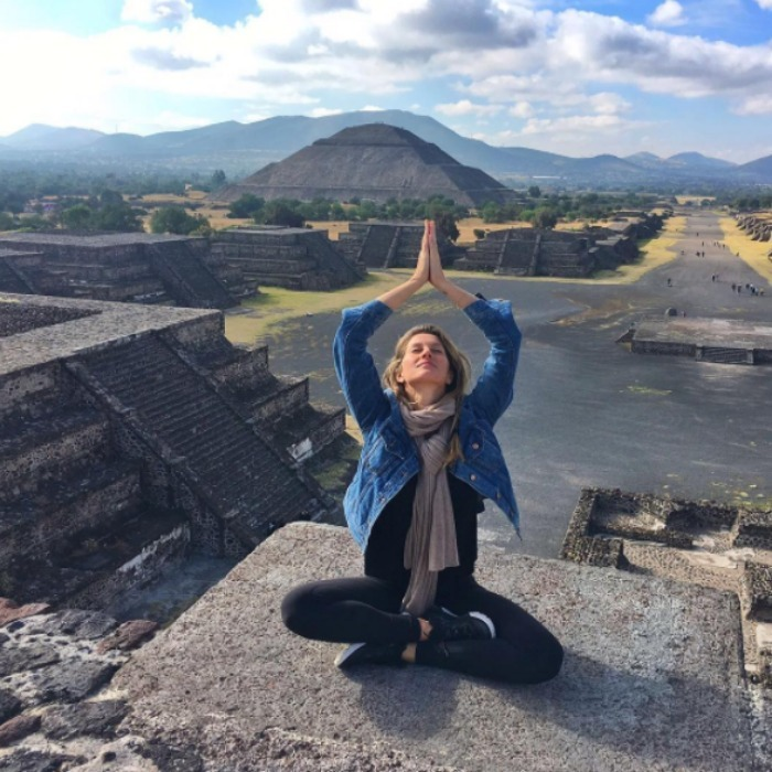 Gisele Bündchen checked an item off of her bucket list during her latest getaway. The supermodel paid a visit to Mexico, where she found peace and practiced her yoga moves during her visit to Pyramids of Teotihuacan. 
