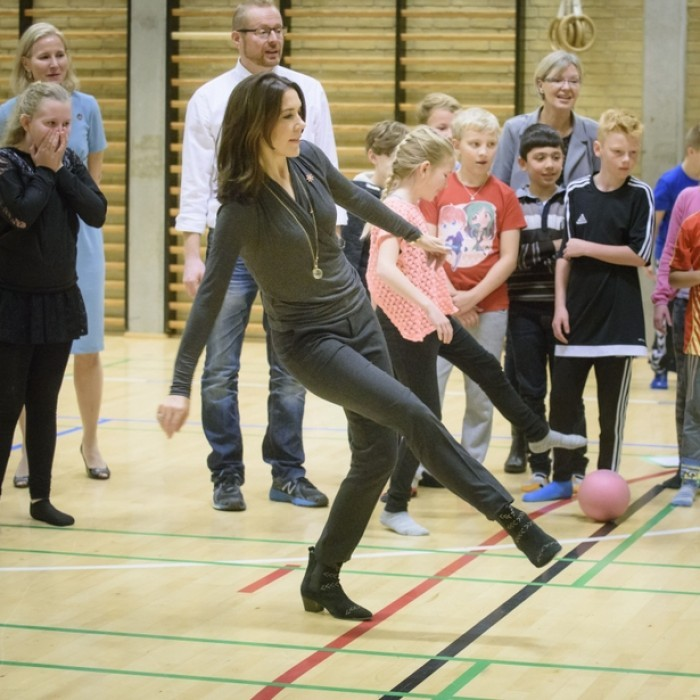 "Crown Princess Mary got sporty during a visit to the Sondre School in Roedby, Denmark where she discussed  the ""State of Population Report 2016."" The reports focus on the living conditions for ten-year-old girls all around the globe.