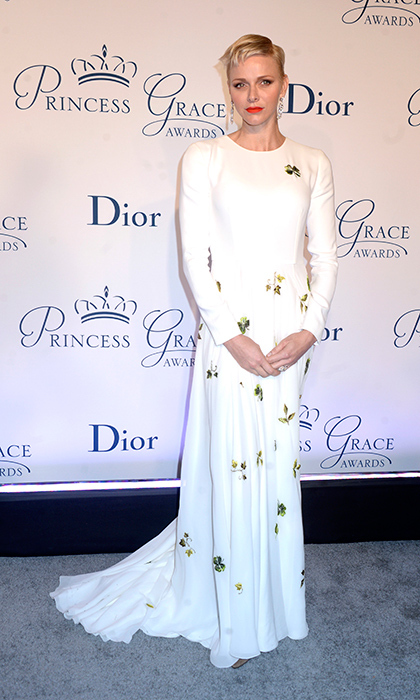 Princess Charlene was the epitome of elegance in white Dior at the Princess Grace awards in New York City.