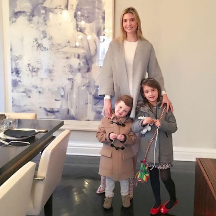 Ivanka and her two oldest children (Joseph and Arabella) kicked off November in stylish fall outerwear. The doting mom simply captioned the photo with two red heart emojis. 