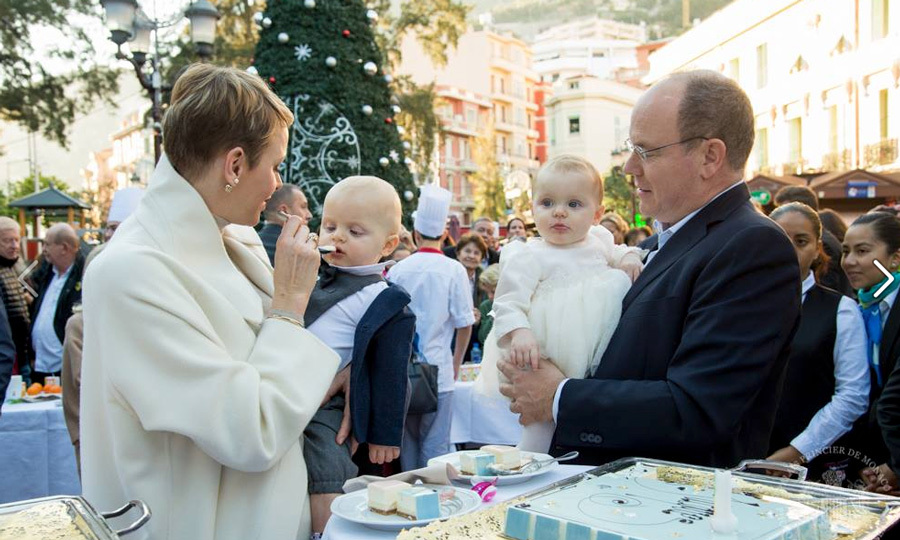December 2015: Let them eat cake! The Monaco twins indulged in cheese cake with their parents during a surprise celebration for Jacques and Gabriella's first birthdays.