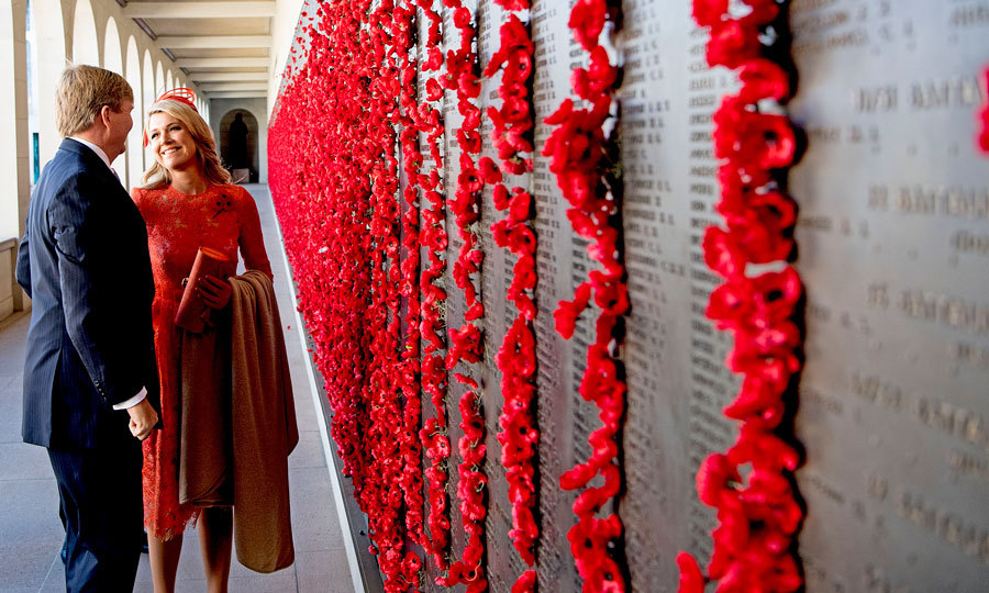 The Dutch monarchs shared a sweet moment as they observed the Poppy Wall at the War Memorial in Canberra, Australia.