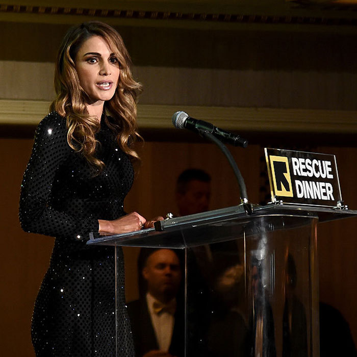 Queen Rania of Jordan returned to the Big Apple to deliver remarks at the International Rescue Committee's annual Rescue Dinner held at the Waldorf Astoria Hotel.