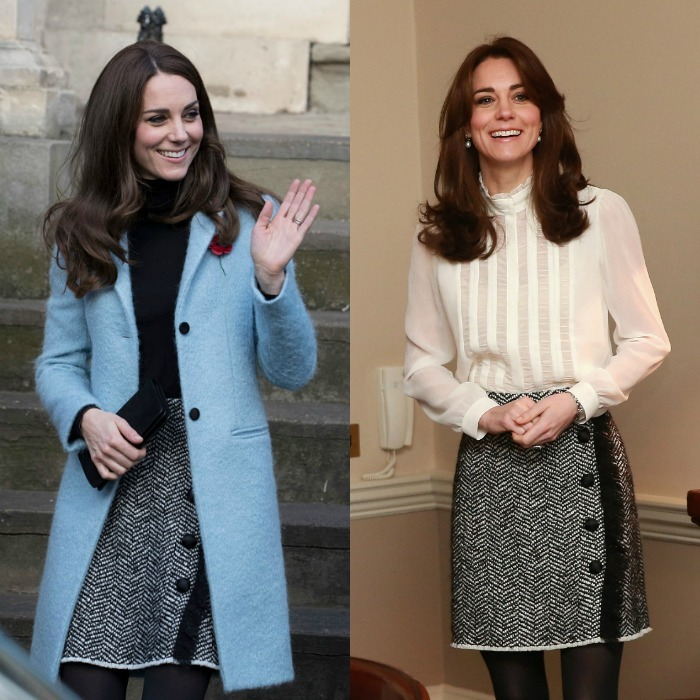 The Duchess of Cambridge looked chic recycling her  boucle wool blend skirt by Dolce & Gabbana for an outing to a women's prison and center in Gloucester. The stylish mom-of-two first wore the skirt back in January 2016 (right) when she guest edited The Huffington Post UK. In true fall fashion, Kate paired the skirt for her November 2016 outing with a black turtleneck and Mulberry coat, which she has also previously worn.