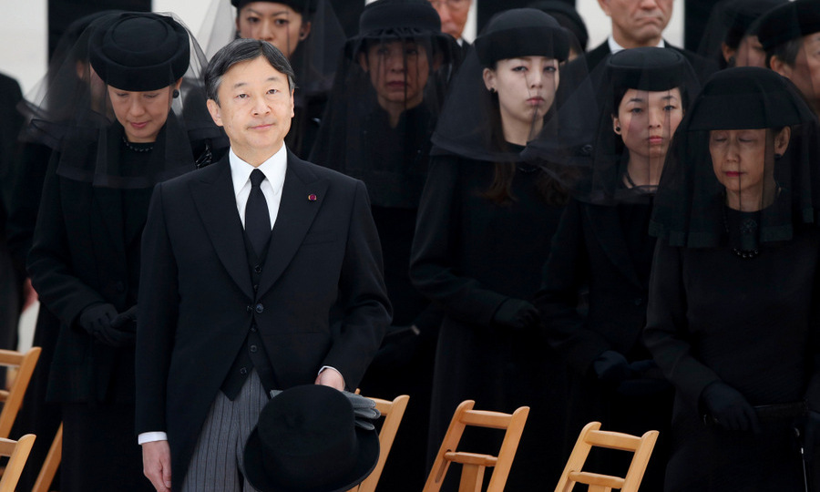 Crown Prince Naruhito and Crown Princess Masako, left, joined other members of the Imperial Family to mourn Prince Mikasa at the Toshimagaoka graveyard in Tokyo. The younger brother of former Emperor Hirohito died at the age of 100 in Tokyo on October 27. 