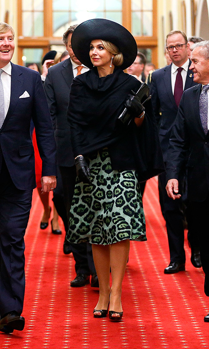 Queen Maxima opted for an eye-catching animal print for her meeting with the Prime Minister of New Zealand John Key at Parliament in Wellington, New Zealand. 