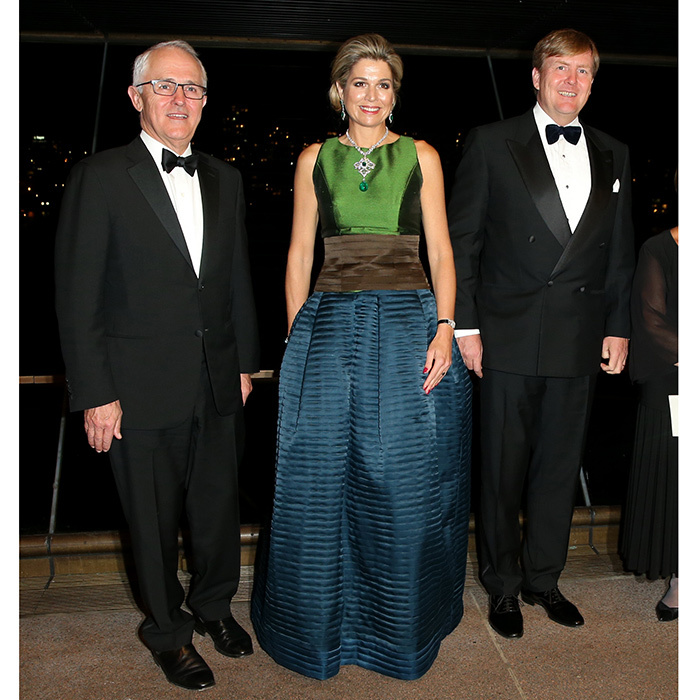 Joined by King Willem-Alexander, right, and Australian Prime Minister Malcolm Turnbull, left, Queen Maxima looked stunning in a color block silk dress as she attended a special performance at the Sydney Opera House. 