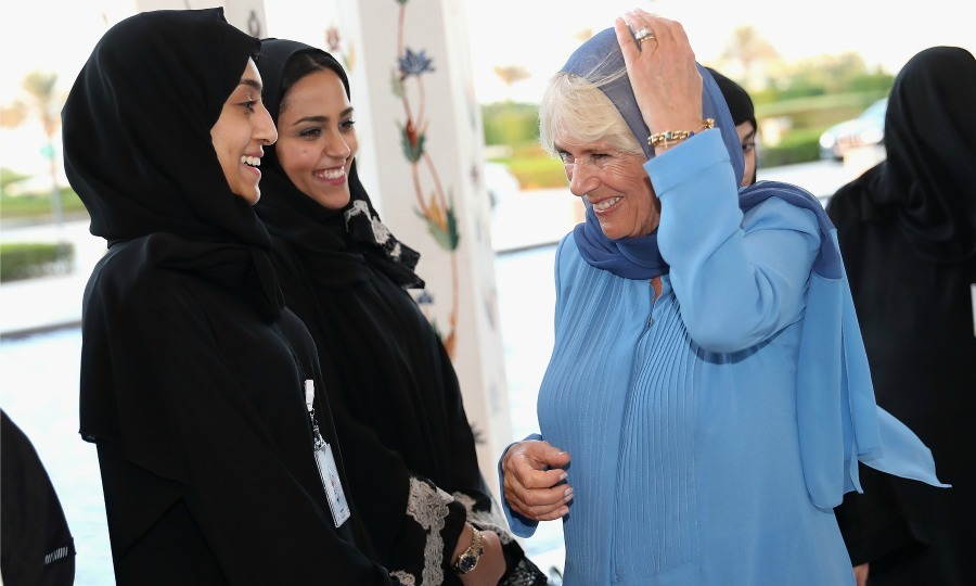 Camilla chatted with guests at the Grand Mosque on day one of the Royal tour of the United Arab Emirates. 