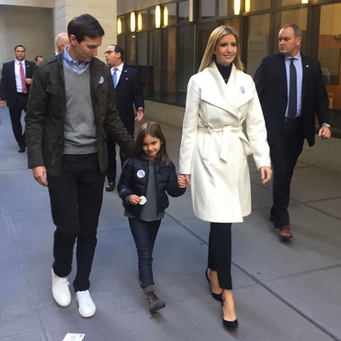 "A family that votes together, stays together! Ivanka and her husband Jared brought their daughter Arabella to the voting polls in New York to vote for the family's patriarch Donald Trump. The businesswoman commemorated the moment with a photo on Instagram, writing ""Such a surreal moment to vote for my father for President of the United States.  #ElectionDay #MAGA.""