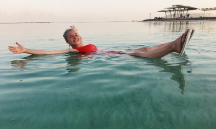 "Hayden Panettiere took a swim in the Dead Sea, calling her dip in the water ""One of the most incredible things I've ever done #HandsDown."" 