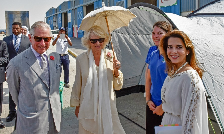 A warm welcome! Charles and Camilla were welcomed by Princess Haya bint al-Hussein to the Dubai Humanitarian International City. 
