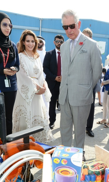 Prince Charles stood with Princess Haya of Jordan during the tour of International Humanitarian City where he admired the city's way they handle humanitarian aid delivery. 