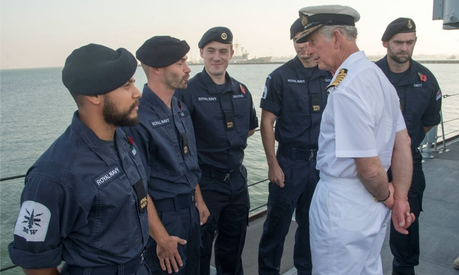A man who serves! Prince Charles met with UK, Commonwealth and Combined Maritime Forces who are serving in Bahrain on board the HMS Middleton.  